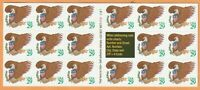 Scott #2596 Eagle & Shield Green Lettering Postage Stamp Pane of 17-29 cent MNH