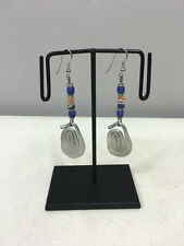 White Yellow Sandcast Beaded Earring Earrings Masai African Aluminum Oval Coiled
