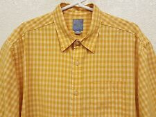 Men's Quiksilver Yellow Plaid Checked Short Sleeve Button Front Shirt -  Med