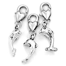 10PCs Clip On Charms Fit Link Chain Bracelets Dolphin Animal Silver Tone