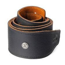 Dunlop Italian Leather Guitar Strap - Black - BMF Series 2.5 inches Suede Back