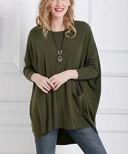 #22 Ladies Designer UK 22 / 24 Green Pocket-Accent High-Low Dolman Tunic Top NEW