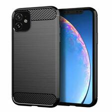 iPhone 11 / Pro / Max Case Carbon Fibre TPU Gel Heavy Duty Armour Cover