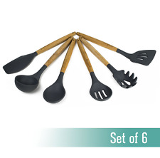 Bouche 6 Piece Eco-Friendly Bamboo/Silicone Kitchen Utensil Set, charcoal gray,