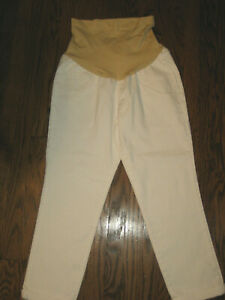 NEW AGlow maternity womens 14 white denim jeans full cover belly cropped pant