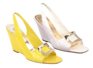 New FRANCO SARTO Women Patent Leather Wedge High Heel Slingback Sandal Shoe