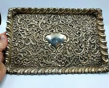 More details for antique edwardian solid silver dressing table tray. henry matthews 1903, 308 g