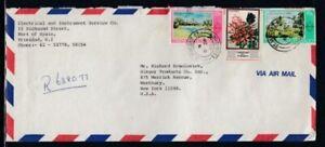 TRINIDAD & TOBAGO Registered Cover Port of Spain to Westbury 8-9-1982 Cancel