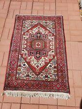 Hand-woven Oriental rug 100% Wool red elegant lovely carpet 4' × 2.5'
