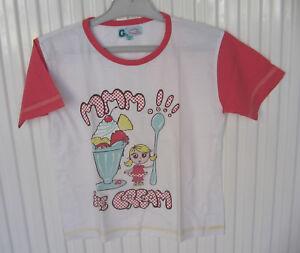 Tee shirt fille 6 – 8 ans blanc décor Ice Cream mc