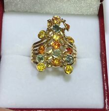 14k Solid Yellow Gold Dangle Ring 3.59GM W/ Natural Multi Color Sapphire Size6.5
