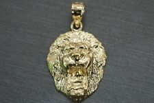 "10K Solid Yellow Gold 1"" Lion Head Face Charm Pendant."