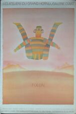 """1967 Folon Poster """"Tight Rope Walker"""" Marci, Brussels, 35x23.5"""", Authentic 1976"""