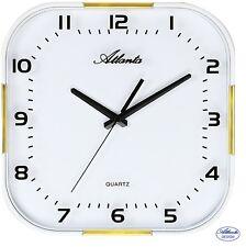 Atlanta 47 Reloj De Pared cuarzo Cocina Blanco Dorado Cristal Bajo Nivel ruido