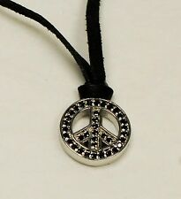 Queen Baby King Baby Studio Silver Peace Sign Black CZ Pendant Necklace NWT