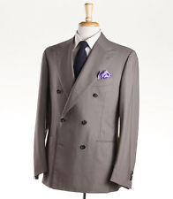 NWT $6200 ATTOLINI Double-Breasted Taupe Beige Wool Summer Suit 40 R (Eu 50)