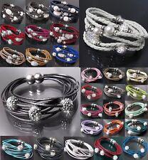VA2* Armband Shamballa echt Leder Edelstahl Silber Strass Lederarmband Mode Neu