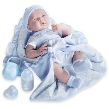 "Jc Toys Deluxe La Newborn Soft Body Baby Doll Gift Set (7 Piece), Blue, 15.5"""