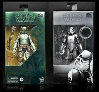 "Star Wars Black Series Carbonized BOBA FETT & STORMTROOPER 6"" Action Figures *PO"