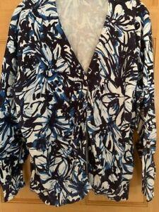 St. John's Bay 2X white, blue and black cardigan sweater