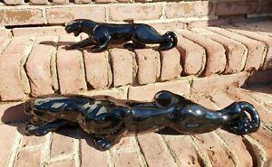"2 HAEGER Black Ceramic PANTHER Figure Sculpture 24"" and 13"" GREAT SHAPE!!!"