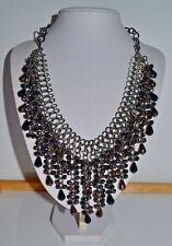 XL signed C63 statement bib neklace black & hematite look AB drop crystal beads
