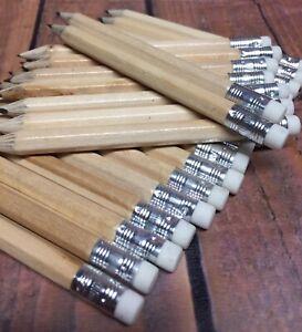Half Size Pencils HB Erasers Mini Wooden Rubbers School Golf Neutral Small