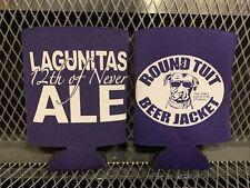 Rare Lagunitas 12th of Never Ale ~ Lot of 2 Purple Round Tuit Beer Jacket Koozie