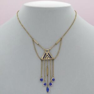 Vtg Antique Art Nouveau Jugendstil Glass Enamel Gold Filled Festoon Necklace