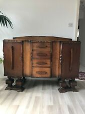 Art Deco Carved Yellow Oak C1930 Cabinet Sideboard Serving Bar Authentic