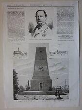1875 MAGENTA MONUMENTO BATTAGLIA - COGHETTI xilografia Illustrazione Universale