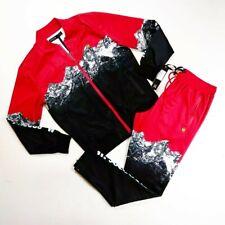 Hudson Mens 100%authentic 2p set track jacket & pants size Large red multicolor