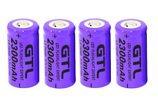 4 x GTL 3.7V CR123 16340 2300mAh Rechargeable Lithium Li-ion Camera Battery Cell