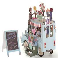 3D Pop Up Blumen Auto Karte Alles Gute Zum Geburtstag Jahrestag Einladung Dekor