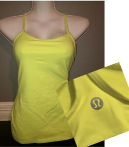 LULULEMON Power Y Yoga Gym Tank Almost Pear Neon Yellow Top Small S Size 6