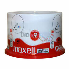 50 Maxell DVD-R Printable DVD 16x Speed Blank Discs 4.7GB InkJet Printable
