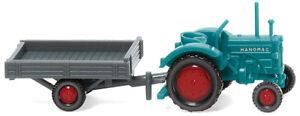 WIKING Modell 1:160/Spur N Hanomag R 16 mit Anhänger, wasserblau / grau #095304