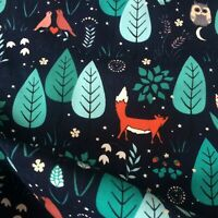 Jersey Stoff Fuchs Eule Nacht Wald Waldtiere Kids Kinderstoff Baumwolle 0,5m