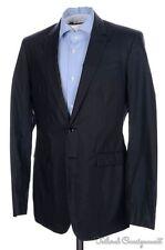 BURBERRY PRORSUM Solid Black 100% Cotton Mens Blazer Sport Coat Jacket - 48 / 38