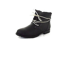 Sporto Jillian Fleece Lined Lace Up Ankle Boots, Black 12M