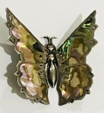 Butterfly Brooch Signed Gp Greg Pat Vintage Sterling Silver Taxco Mexico Abalone