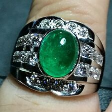MENS 3.46TCW Natural Emerald Diamond 18K Solid White gold ring Cabochon Unisex