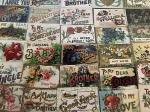 Big Estate Lot of 35 Family Greetings~Large Letter Words Antique~Postcards-b968