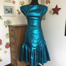 Vintage 80's Prom Dress, Drop Waist Metallic Formal Dress, Big Bow Low Back XS-S