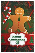 "Merry Christmas Gingerbread Man Garden Flag 12""X18"" Designer Decorative Flag"