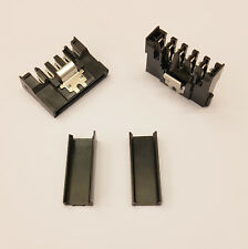 STRAIGHT SATA PC PSU POWER SUPPLY CONNECTOR - BLACK CAPS - DIY - PK OF 2