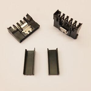 STRAIGHT LATCH TYPE SATA PC PSU POWER CONNECTOR - BLACK CAPS - DIY - PK OF 5
