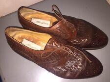 Mens Mezlan Brown Leather Woven Shoes Oxfords Sz 10.5 M Aruba Cap Toe