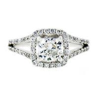 14K White Gold 1.52ctw GIA Cushion Cut Diamond Split Shank Halo Engagement Ring