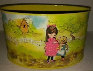 VTG Yellow Oval Tin Metal Lidless Container Girls Gathering Dandelions by: Laura